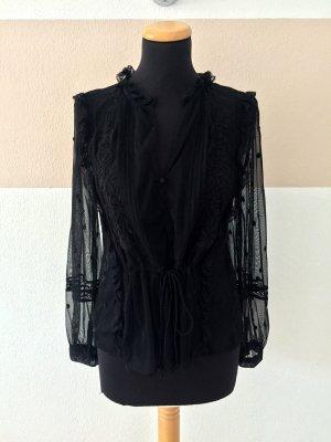 21102606 Schwarze Netz Punkte Bluse von Zara, Gr. M