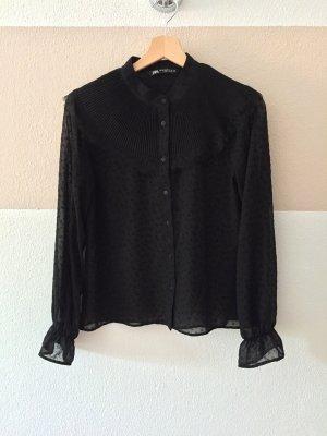 21102609 Schwarze Plissee Punkte Bluse von Zara, Gr. XS (NEU)