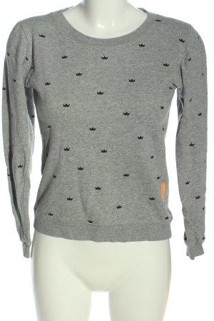 2117 of Sweden Kraagloze sweater lichtgrijs-zwart volledige print