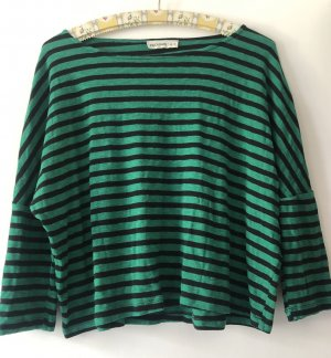 24Colours T-shirt rayé noir-vert forêt coton