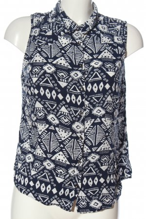 24 colours Hemdblouse wit-blauw volledige print casual uitstraling