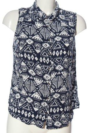 24 colours Blouse-chemisier blanc-bleu imprimé allover style décontracté