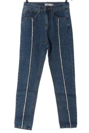 24 colours Jeans taille haute bleu style décontracté