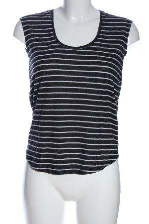 24 colours T-shirt rayé noir-blanc imprimé allover style décontracté
