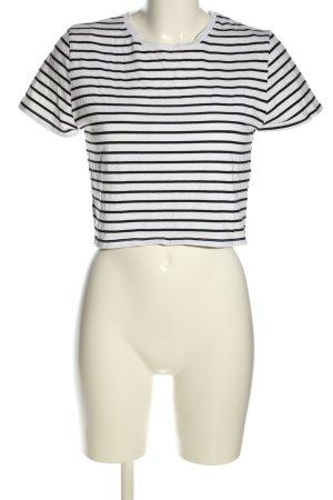 24 colours Koszulka w paski biały-czarny Wzór w paski W stylu casual