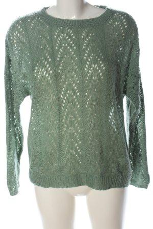 24 colours Kraagloze sweater groen casual uitstraling