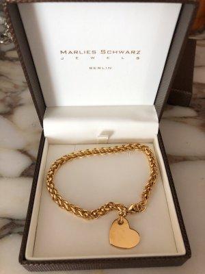 24 Karat Gold Armband, NEU,Mit Herz Anhänger, Juwelier Schmuck