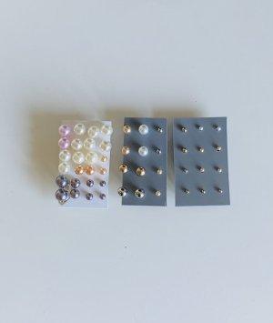 24 Teiliges Ohrsteckerset Ohrringe Perlenoptik Perlenohrstecker Perlenohrringe verschiedene Größen