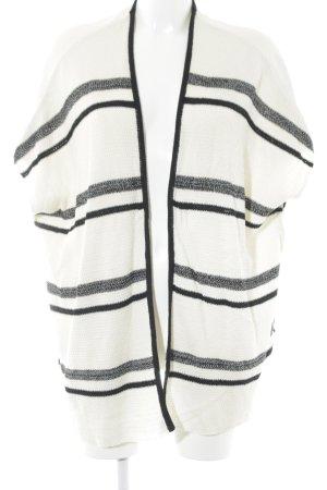 24Colours Cardigan crème-noir motif rayé style simple