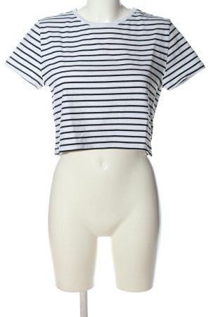 24Colours T-shirt court blanc-noir motif rayé style décontracté