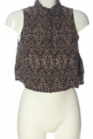 24Colours Cropped Top black-cream abstract pattern casual look
