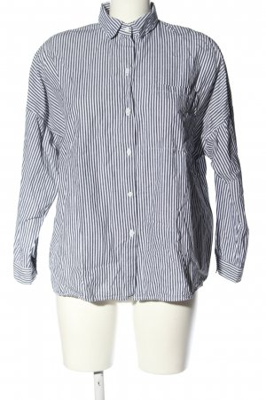 24Colours Blusa-camisa blanco-gris claro estampado a rayas look casual