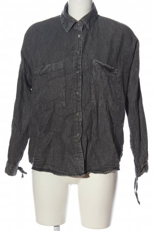 24Colours Camisa de manga larga negro moteado look casual