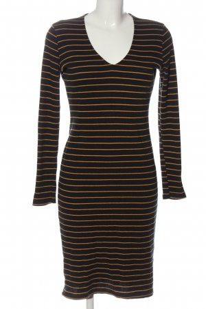 24Colours Longsleeve Dress black-light orange striped pattern elegant
