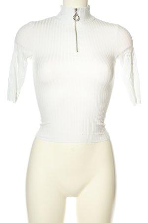 24Colours Camisa acanalada blanco look casual