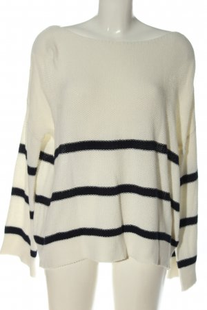 24Colours Crewneck Sweater white-black striped pattern casual look