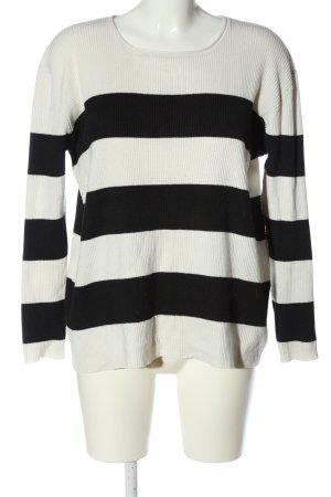 24Colours Kraagloze sweater wit-zwart gestreept patroon casual uitstraling