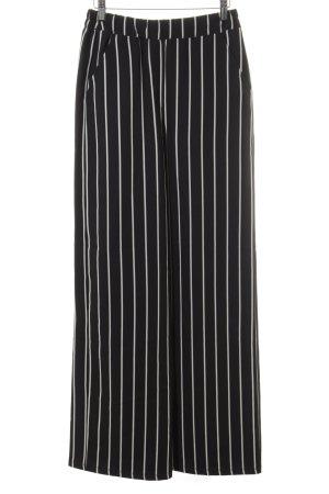 24Colours Pantalon en jersey noir-blanc cassé motif rayé style décontracté