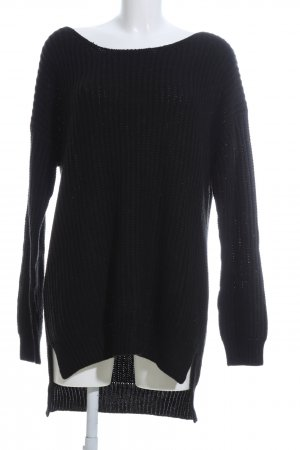 24Colours Knitted Sweater black cable stitch casual look