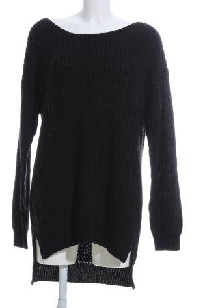 24Colours Pull tricoté noir torsades style décontracté