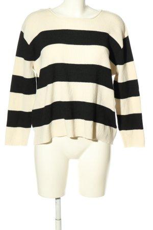 24Colours Pull tricoté blanc-noir motif rayé style décontracté