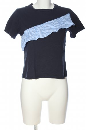 24Colours Camiseta azul-blanco estampado a rayas look casual