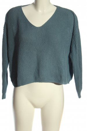 24Colours Jersey con cuello de pico azul Patrón de tejido look casual