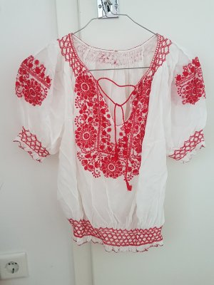 Batik Shirt white-dark red