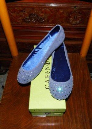 255€ Neu Echtleder Veloursleder Ballerinas Grau-Blau 39 Pretty Swarovski