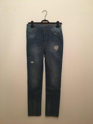 27 34 Vila denim Jeans midblue lichtblaue wishes out destroyed Knöpfe boyfriend hatem tiefer schritt 27/34 slim
