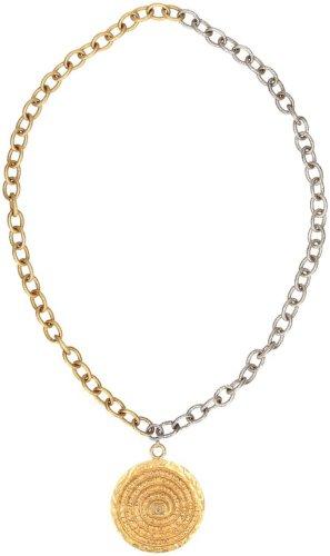 29990 Chanel CC lange Halskette aus gold- und silberfarbenem Metall mit goldfarbenem Anhänger