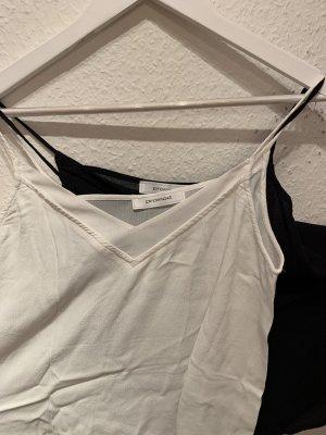 Promod Koszulka z dekoltem w kształcie litery V biały-czarny