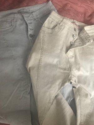 Hoge taille jeans lichtgrijs-room