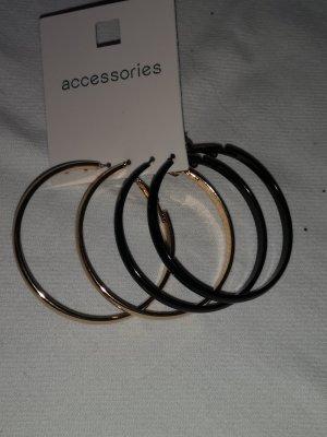 Ear Hoops black-gold-colored mixture fibre