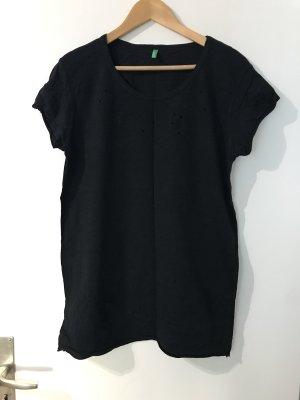 2x Benetton Shirt destroyed schwarz Longshirt
