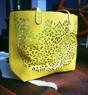 Mango Shopper yellow imitation leather
