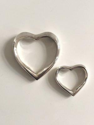 2x Open Heart 925 Sterling Silber XXL Anhänger Herz Anhänger Herzanhänger