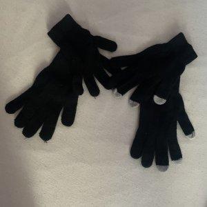 Gants en tricot noir-gris clair