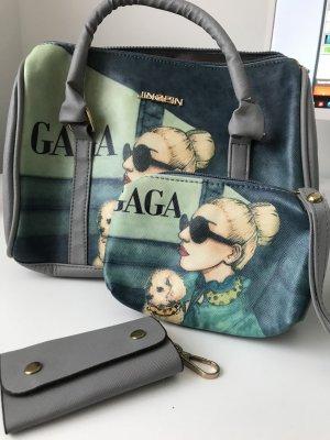 2x Tasche Gaga grau grün beige und Schlüsseltäschchen
