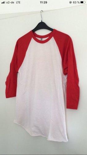 American Apparel Long Shirt white-red