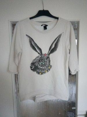 3/4-Arm Pullover mit Hasenprint und Schmucksteinen