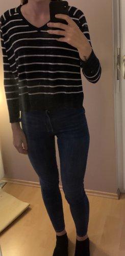 Mango Gebreid shirt donkerblauw-wit Polyester