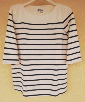 T-shirt rayé blanc cassé-bleu foncé