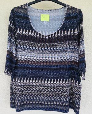 3/4 Arm Shirt in Blau-und Beigetönen aus elastischem Viskosejersey