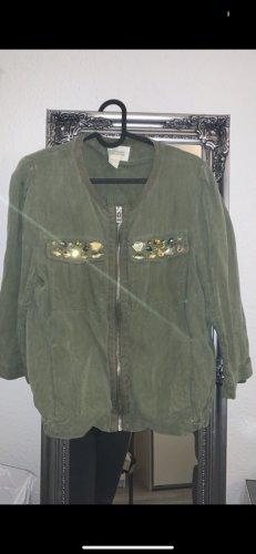 H&M College Jacket green grey