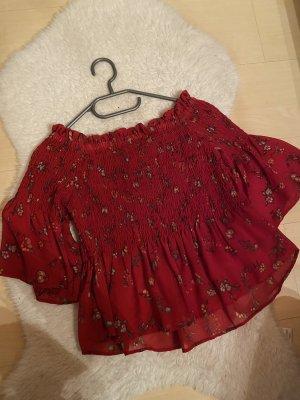 H&M Bluzka z falbankami ciemnoczerwony