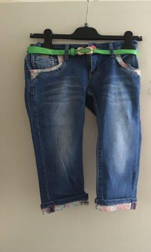 Grace Jeans a 3/4 verde-blu