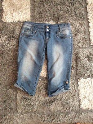 Jane norman Jeans 3/4 bleu azur coton