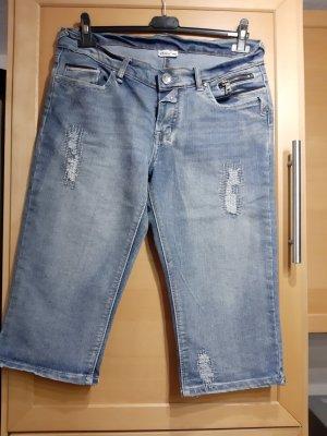 Jeans a 3/4 blu pallido Tessuto misto