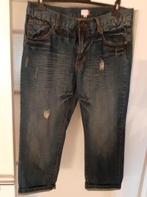 Jeans a 3/4 bianco-blu scuro Cotone